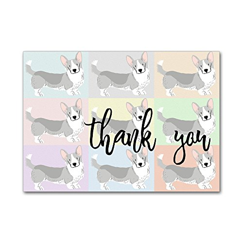 Set of 12 Thank You Notes and Envelopes with Watercolor Welsh Corgi Dogs Puppy Puppies on Pastel Background (Welsh Corgi Head)