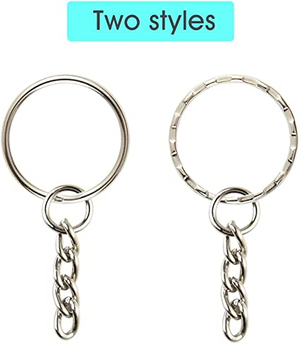 Crafts DIY AKORD 60 Pieces Keyring Blanks Split Metal Key Rings with Link Chain and Open Jump Rings for Keys