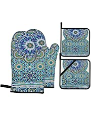 Cooking Mitts Moroccan Decor Ceramic Tile with Ancient East Pattern Decorative Tracery Heritage Architecture Oven Gloves and Pot Holders Set
