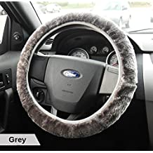 (Ships from Toronto) MooseLand Imitated Sheepskin Fur Stretch-On Steering Wheel Cover (Grey)