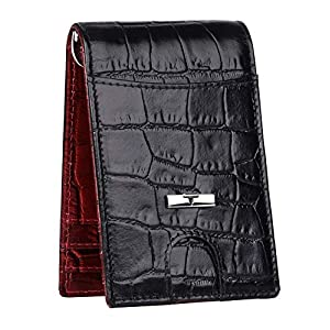 URBAN FOREST Black & Dark Red Leather Men's Money Clip (UBF139RDB1031)