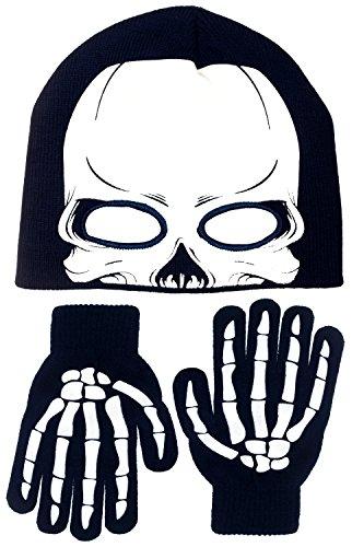 Polar Wear Boy's Skeleton Knit Beanie with Eye Holes & Glove Set (Navy Blue-White) (Skeleton Hoodie Teen Costume)
