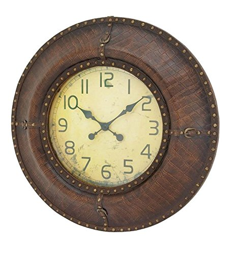 Deco 79 71952 Wood Leather Wall Clock, 33