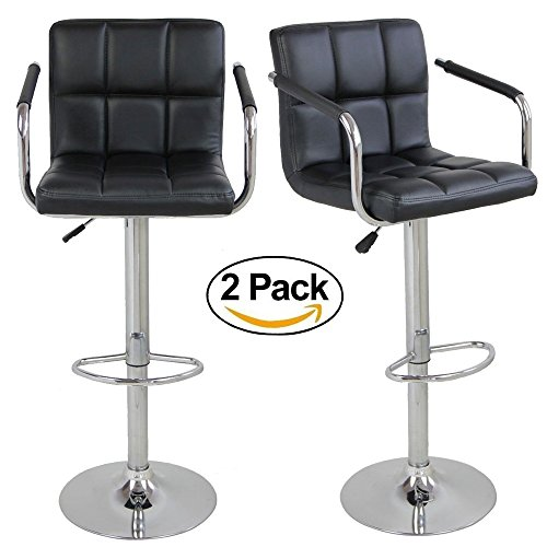 Height Arm Set Adjustable (FCH Set of 2 Square PU Leather Barstools Height Adjustable from 21 1/2-30 360°Swivel Bar Stools with Large Paded Seat/Armrest/Backrest/Footrest for Kitchen, Home, Office Black)