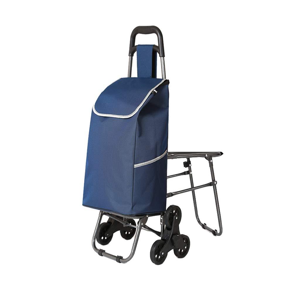 ショッピングカート小型カートトロリー折り畳み式トロリー (色 : 青)  青 B07HRHZF94