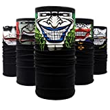 QERLIN Motorcycle Face Masks,Ghosts Balaclava Clown Bandana Tube Mask,Versatile Outdoors Half Face Mask for Halloween Cosplay Party (5 Pieces)