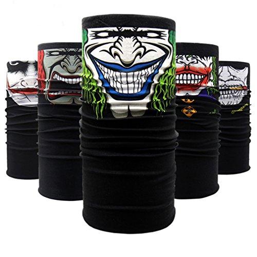 QERLIN Motorcycle Face Masks Riding Half Mask Bandana Clown for Running Hiking Fishing 5 count.
