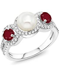 1.40 Ct Round Cultured Freshwater Pearl Red Ruby 925 Sterling Silver Ring (Available in size 5, 6, 7, 8, 9)