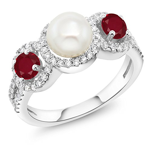 And Ruby Pearl - 1.40 Ct Round Cultured Freshwater Pearl Red Ruby 925 Sterling Silver Ring (Size 8)