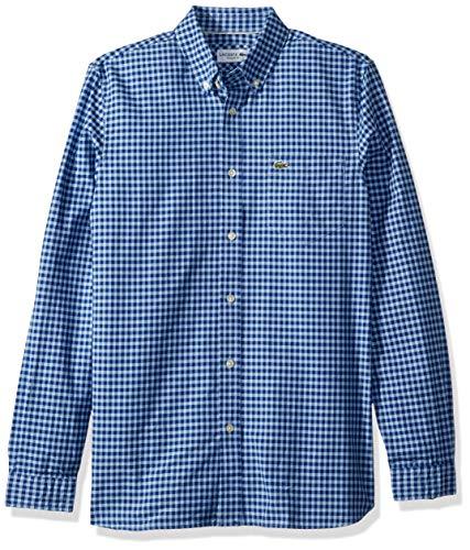 Lacoste Men's L/S Oxford Gingham Button Down COL REG, Captain/Creek, X-Large/XX-Large