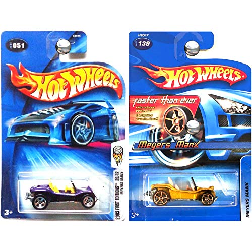Dune Buggy Manx Meyers - Hot Wheels 2003 and 2005 Faster Than Ever Meyers Manx Dune Buggy in Gold and Purple #51 and #139 Set of 2