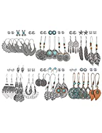 36 Pairs Fashion Drop Dangle Earrings Set for Women Girls Vintage Silver Bronze Earrings with Pearl Hollow Leaf Turquoise Inlay Bohemian Statement Jewelry for Birthday/Party/Christmas Gifts