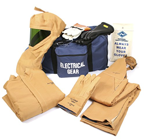 National Safety Apparel KIT4SC100MD10 ArcGuard Arc Flash Kit with Short Coat and Bib Overall, 100 Calorie, Medium/Glove Size 10, Caramel Brown