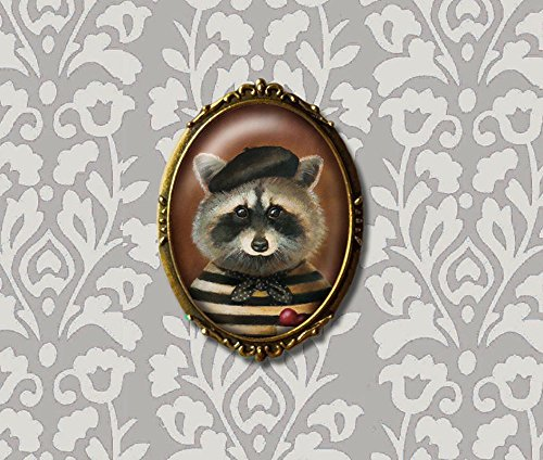 Raccoon Brooch - Racoon Portrait - Racoon Bandit Pin - Valentine's Day Gift - Sweetheart Gift - Engagement - Anniversary