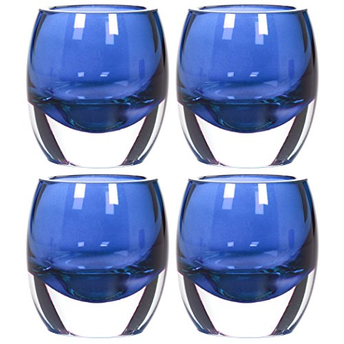 Hosley Set of 4 Blue Chunky Glass Votive and Tealight Candle