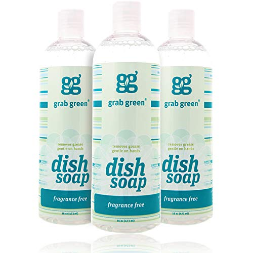 -Derived, Biodegradable Liquid Dish Soap, Fragrance Free, 16 Ounce Bottle, (3-Pack) ()