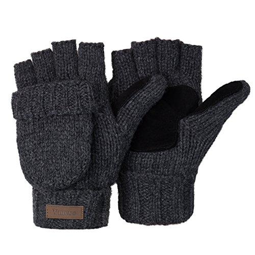 ViGrace Winter Knitted Convertible Fingerless Gloves Unisex Warm Wool Mitten Glove for Women and Men