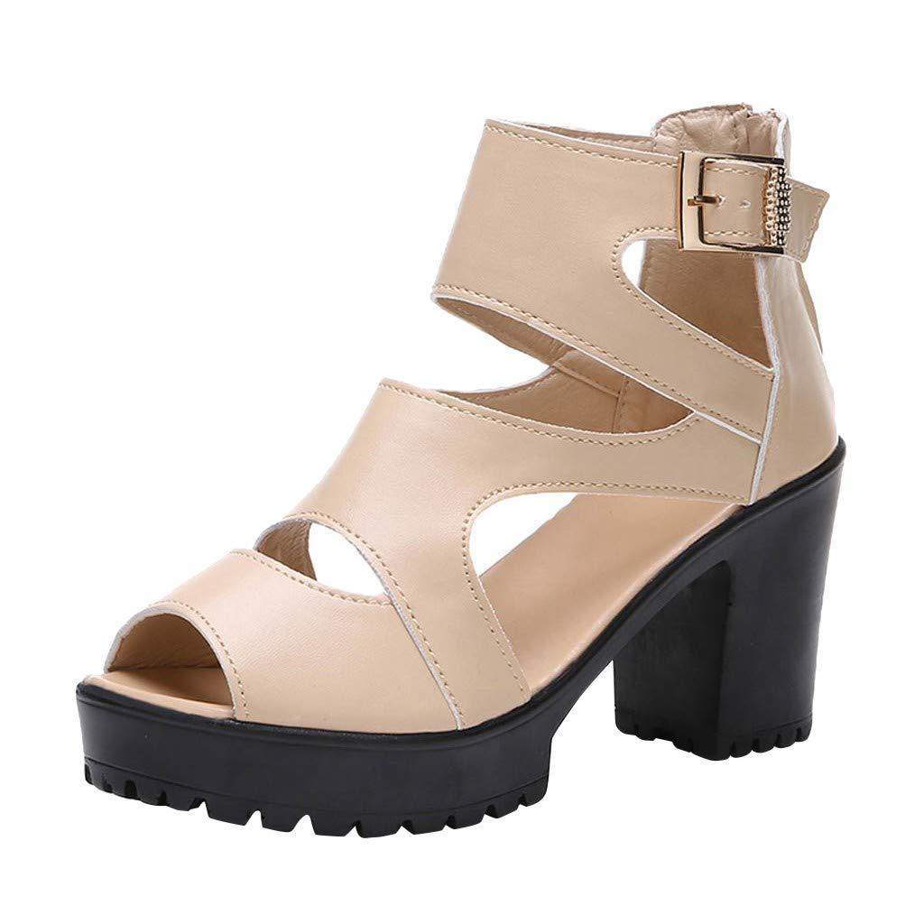 Respctful✿Women Sandals Gladiator Ankle Strap Platform Block Heel Wooden Platform Dress Sandal Shoes Beige