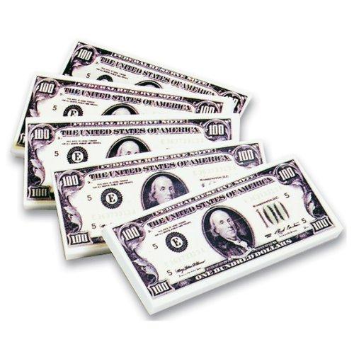 ~ 12 ~ Hundred Dollar Bill  Erasers ~ Size: 1-5/8 Inch X 4 I