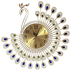Peacock Crystal Metal Clock Silent 3D Wall Clock Peacock 40pcs Diamonds Decorative Clock Diameter by MEI-DA