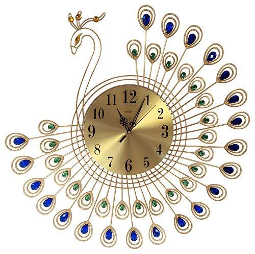 Peacock Crystal Metal Clock Silent 3D Wall Clock Peacock 40pcs Diamonds Decorative Clock Diameter by MEI-DA