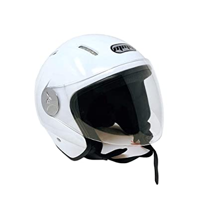 MMG 51 Motorcycle Scooter Open Face Helmet Pilot Flip Up Visor DOT, Large, Shiny White: Sports & Outdoors [5Bkhe0903942]