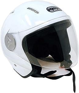 MMG 51 Motorcycle Scooter Open Face Helmet Pilot Flip Up Visor DOT, Large, Shiny White