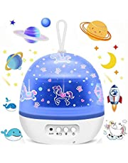 Star Night Lights Projector for Kids, Carousel Ocean Space Star 4 Sets of Film Night Lighting Lamp 360° Rotating Projector Kid Night Lamp 8 Colorful Lights Gift for Boys and Girls
