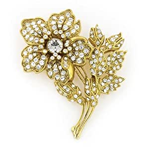 Amazon.com: 1928 Jewelry Vintage Gold & Marcasite Flower
