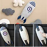 Cute Doll Car Seat Strap Belt Toy Cushion Cover for Kids Children, Auto Adjustable Pillow Pad Vehicle Car Safety Belt Toy Protect Shoulder Chest Child (Rocket)