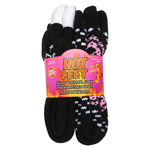 Hot Feet Women's 2 Pairs Heavy Thermal Socks - Thick Insulated Crew for Cold Weather; Shoe Size 4-10.5 (Black Farile and Solid Black) by Hot Feet