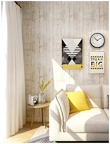 HaokHome 5023 Faux Distressed Wood Plank Peel and Stick Wallpaper Brown/Wheat/Black 17.7