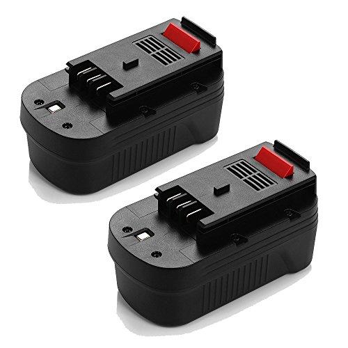 Powerextra 2 Pack Black & Decker 18V 2000mAh Replacement Battery for HPB18 HPB18-OPE 244760-00 A1718 A18 A18E Firestorm FS180BX FS18BX FS18FL FSB18