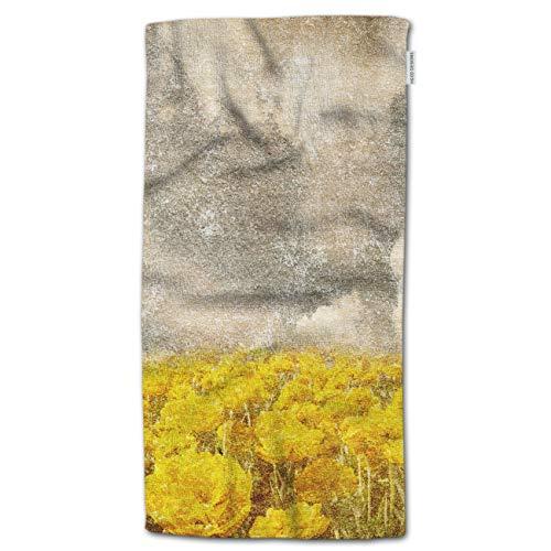 HGOD DESIGNS Yellow Flowers Bath Towel,Field Full of Yellow Flowers Throw Bath Towel Soft Premium Family Microfiber for Bathroom and Beach Bath Towel 64