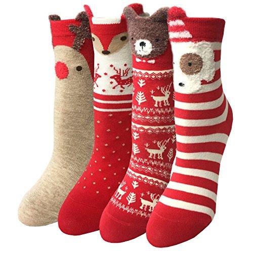 LOTUYACY Womens Girls Cute Animal Casual Socks Comfort Funny Cotton Crew Socks 4 Or 5 Pack (Red set)