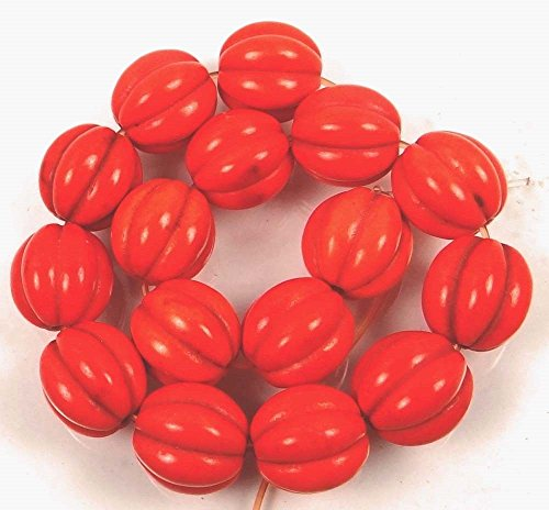 - 12mm Orange Turquoise Fluted Melon Round Beads (16)