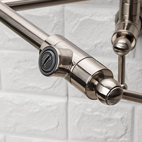 LORDEAR Stainless Steel Pot Filler Folding Stretchable Double Joint Swing Arm Brushed Nickel Wall Mount Kitchen Faucet, Single Hole Two Handle Kitchen Sink Faucet by Lordear (Image #5)