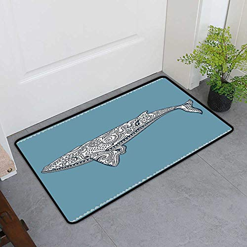 TableCovers&Home Non-Slip Door Mat, Nautical Non-Slip Mats for Living Room, Ethnic Whale Fish with Totem Symbol and Kitsch Antique Paisley Pattern (Slate Blue and White, H16 x W24)