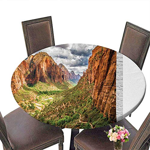 Round Table Cloth for Foot Table in Washable Polyester(Elastic Edge) duitable for all occasions, (92