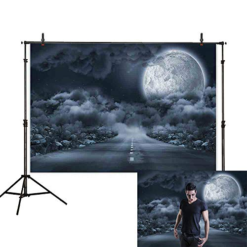 Allenjoy 7x5ft Halloween Backdrop Highway Smoke Dark Clouds Stars Moon Werewolf Zombie Moonlight Rock Horror Night Photography Background Decoration Photo Studio -