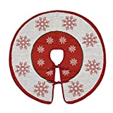Primode Xmas Tree Skirt 30'', Snowflakes Design On a White Jacquard Woven Heavy Duty Textile with Red Trim, Holiday Tree Decoration