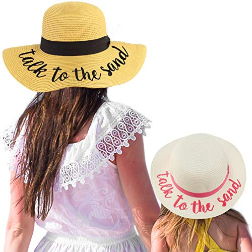 C.C Womens Mommy and Me Girls Sayings Summer Beach Pool Floppy Dress Sun Hat Talk to The Sand, White