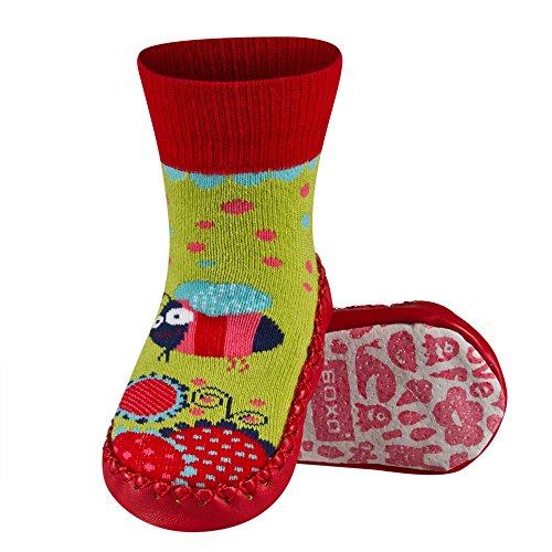 Sevira Kids - Calcetines con suela de piel para bebés de 0 a 24 meses, talla europea 19-21, diferentes colores multicolor Lapin 1 Talla:talla: 19-21 (bebé 0-24 meses, 13 cm) Fille 3-C
