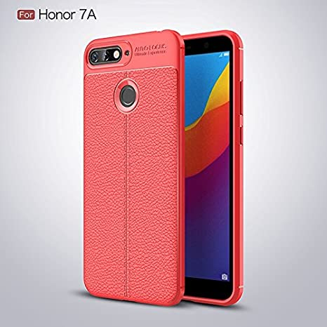 reputable site aeee4 b6478 SHOPWAY Honor 7A Case Soft Silicone TPU Flexible Black Auto Focus Back  Cover for Huawei Honor 7A Back Cover (RED)