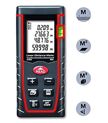 Arama Digital Laser Distance Meter Measure tool Range Finder with Large Backlit LCD 4 Line Display, Bubble Level, Self Calibration Rangefinder