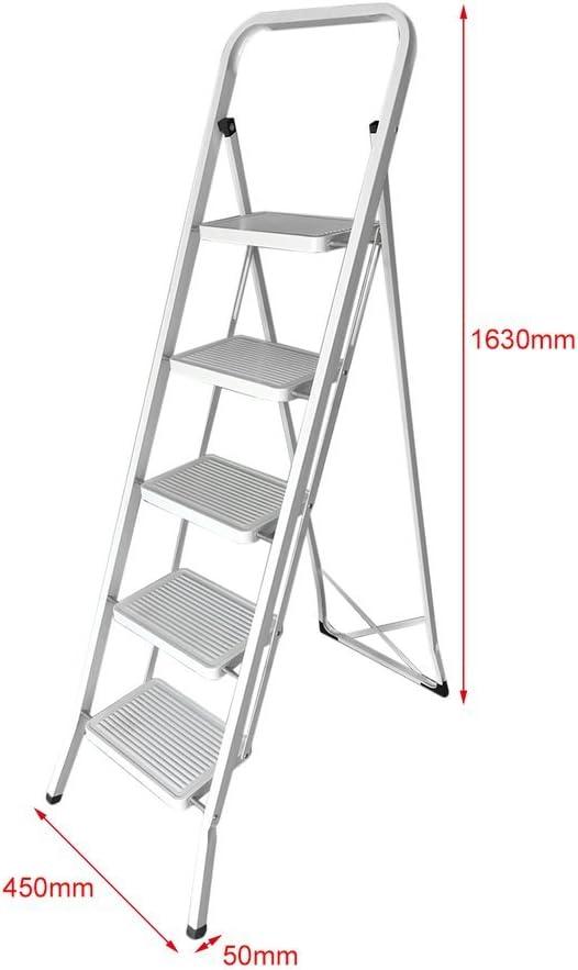 blackpoolal aluminio escalera de escalera 5 peldaños Escalera escalera plegable de hasta 150 kg plata: Amazon.es: Bricolaje y herramientas