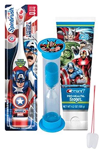 "Avengers Inspired 3pc Bright Smile Oral Hygiene Set! Turbo Powered Spin Toothpaste & Brushing Timer! Plus Bonus ""Remember To Brush"" Visual Aid!"