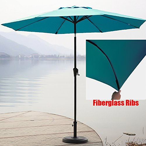 C-Hopetree 9 ft Fade Resistant 250gsm Polyester Aluminum Outdoor Market Patio Umbrella (Deluxe Auto Tilt Umbrella)