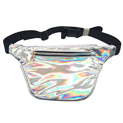 MSFS Women Hologram Bum Waist Bag Laser Funny Pack Waterproof Shiny Neon Pack for Travel Festival Beach (Silver) by MSFS (Image #4)