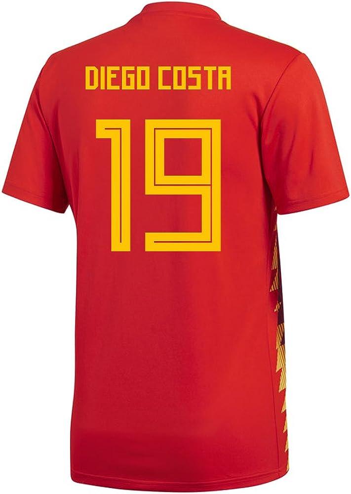 adidas Diego Costa #19 España Home - Camiseta de fútbol para Hombre (Manga Corta), S, Red/Bold Gold: Amazon.es: Deportes y aire libre